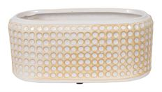 BOAT CERAMIC DOTS 22CM WHT/OR